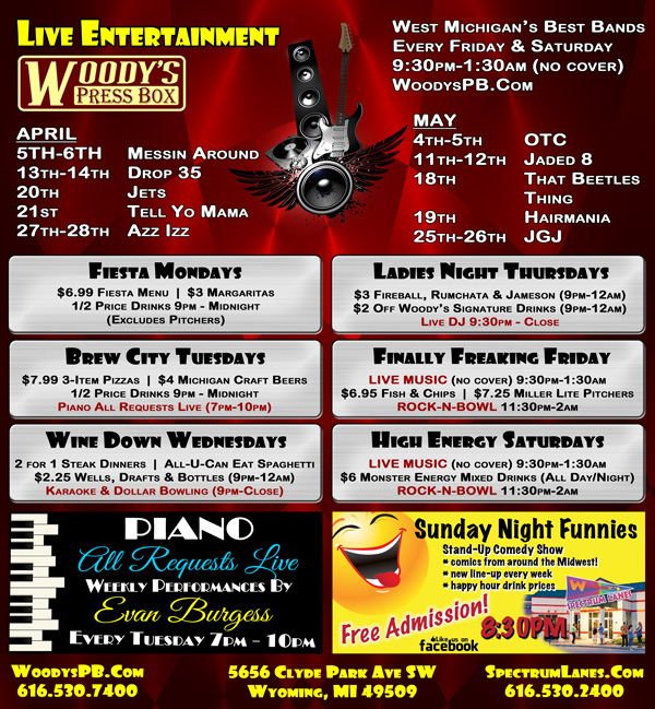 Woody's Weekly Events