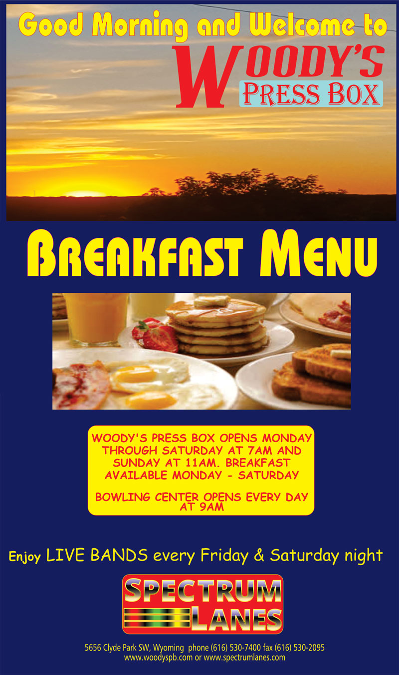 Breakfast menu cover